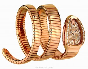 Bulgari Serpenti Tubogas, double-coil version in 18K pink gold, dial set with 190 brilliant-cut diamonds of approximately 0.3 carats, crown set with rubellite cabochon, quartz movement. Introduced in 2012. Photo: © Bulgari