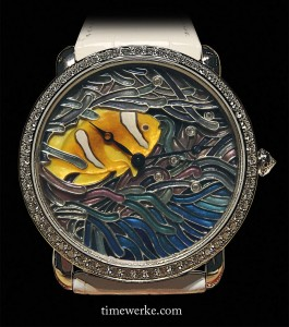 Ronde Louis Cartier XL size watch with a fish and coral motif, engraved mother-of-pearl, miniature painting and plique-à-jour enamel. Photo: © TANG Portfolio at SIHH 2013