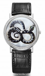 Piaget's 2013 Altiplano Chinese Zodiac Snake uses the cloisonné enamelling technique. The watch houses the ultra-thin Calibre 430P manual-winding movement. Photo: © Piaget