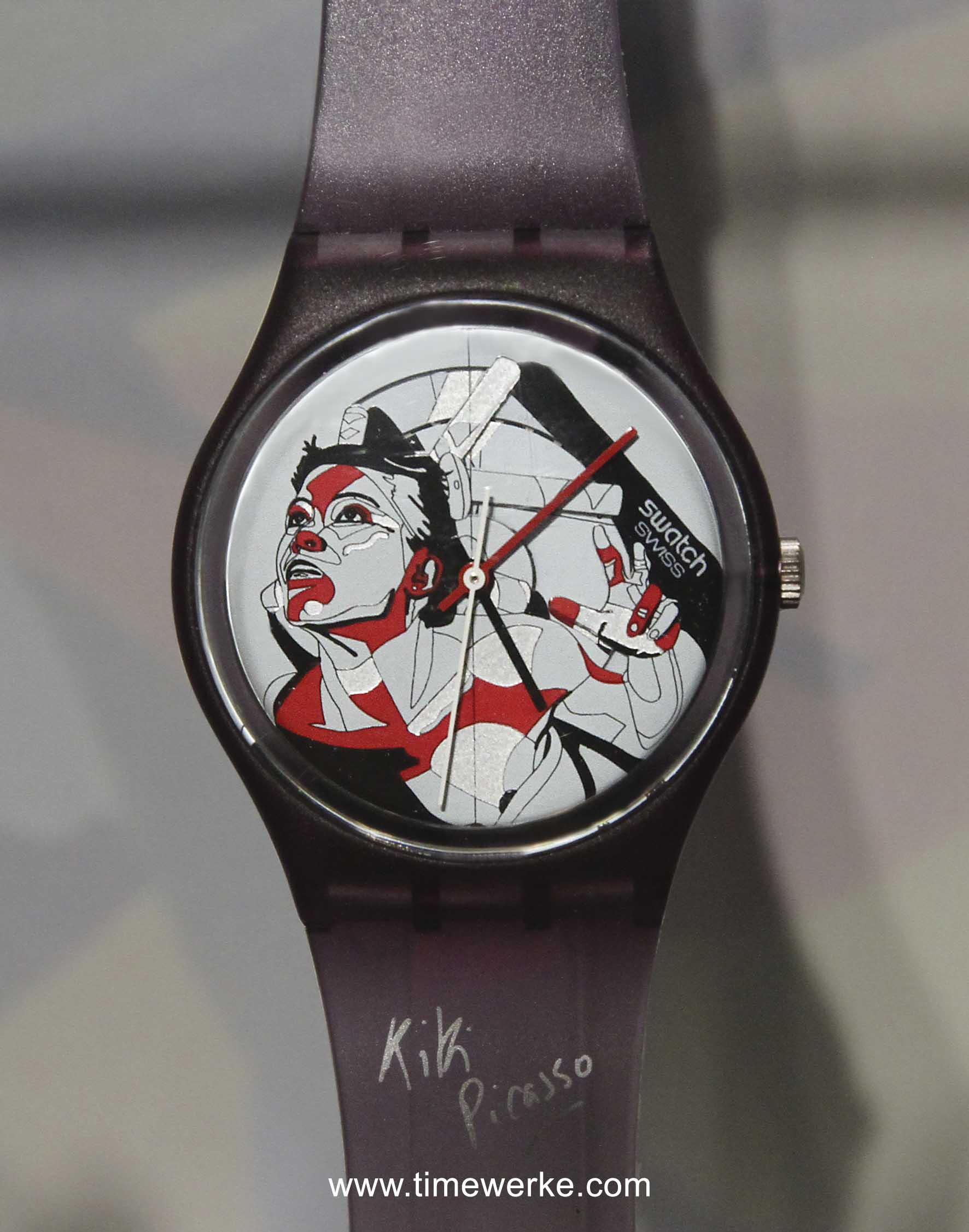 The extremely rare Swatch Kiki Picasso (Code: GZ008) which was launched in 1985 and limited to 140 pieces is the first Swatch Art Special. Photo: © TANG Portfolio, at BaselWorld 2013
