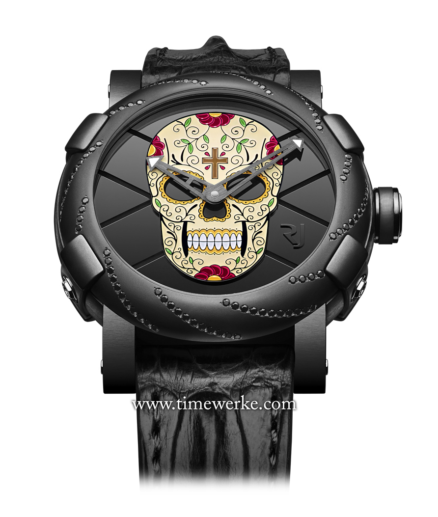 Romain Jerome's Día de los Muertos on a black PVD-coated steel case. Five versions are available. Photo: © Romain Jerome