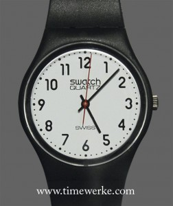 One of the first Swatch watches made in 1983 (Code: GB102). Photo: © TANG Portfolio, at BaselWorld 2013