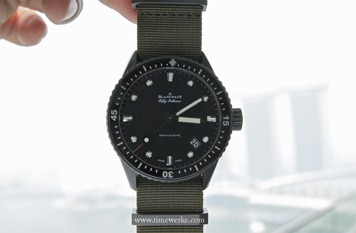 Blancpain's 2013 novelty, the Fifty Fathoms Bathyscaphe as seen on the 19th storey of OUE Bayfront at ME@OUE in Singapore on 20 June 2013 at 3.10pm. At 3pm, the PSI (pollution standard index) reading was 312. In the background, one can briefly make out Marina Bay Sands even in the haze. Photo: © TANG Portfolio