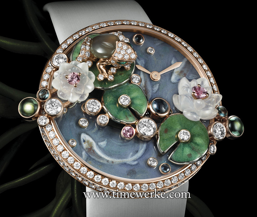 Les Indomtable de Cartier Frog features a frog sitting on a floating leaf among lotus flowers. The lotus flowers are made of moonstone and are set with pink sapphires. The timekeeping function is powered by a quartz movement. Limited to 40 pieces. Photo: © Cartier