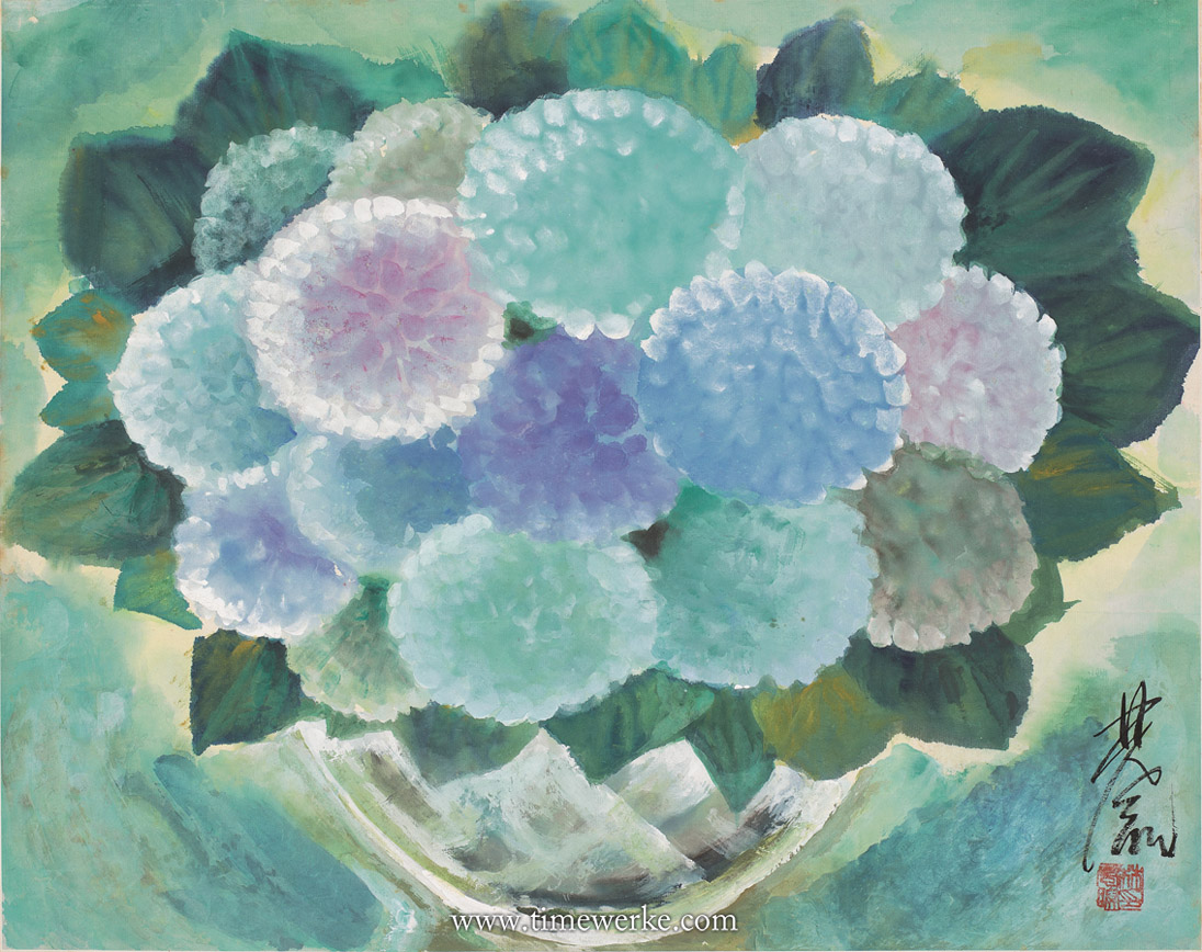 Hydrangeas by Lin Fengmian (1900 to 1991), valued at between HK$1 and HK$1.2 million. Sold for HK$1.18 million (US$137,000 or 105,000 euros) at Tiancheng International's April 2013 auction. Photo: © Tiancheng International