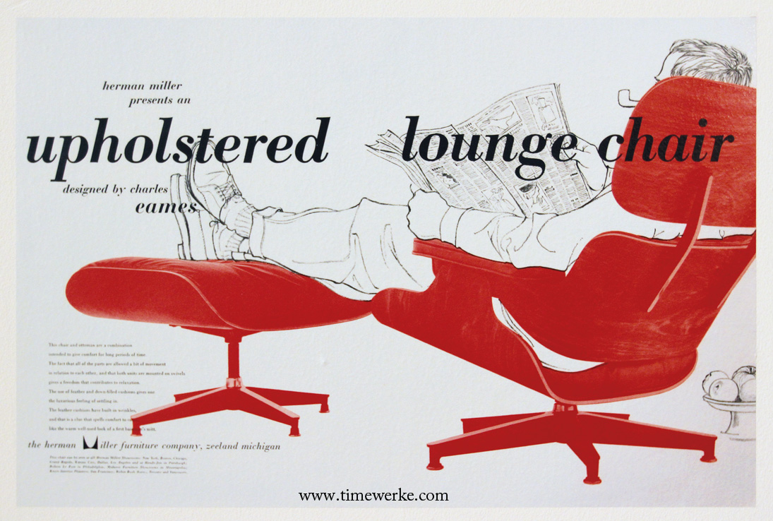 "Vintage Herman Miller Eames Lounge Chair poster on display at the ""Essential Eames: A Herman Miller Exhibition"" which began on 29 June 2013 at the ArtScience Museum located in Marina Bay Sands, Singapore. The exhibition will run till 5 January 2014. This photo was taken during the exhibition. © TANG Portfolio"