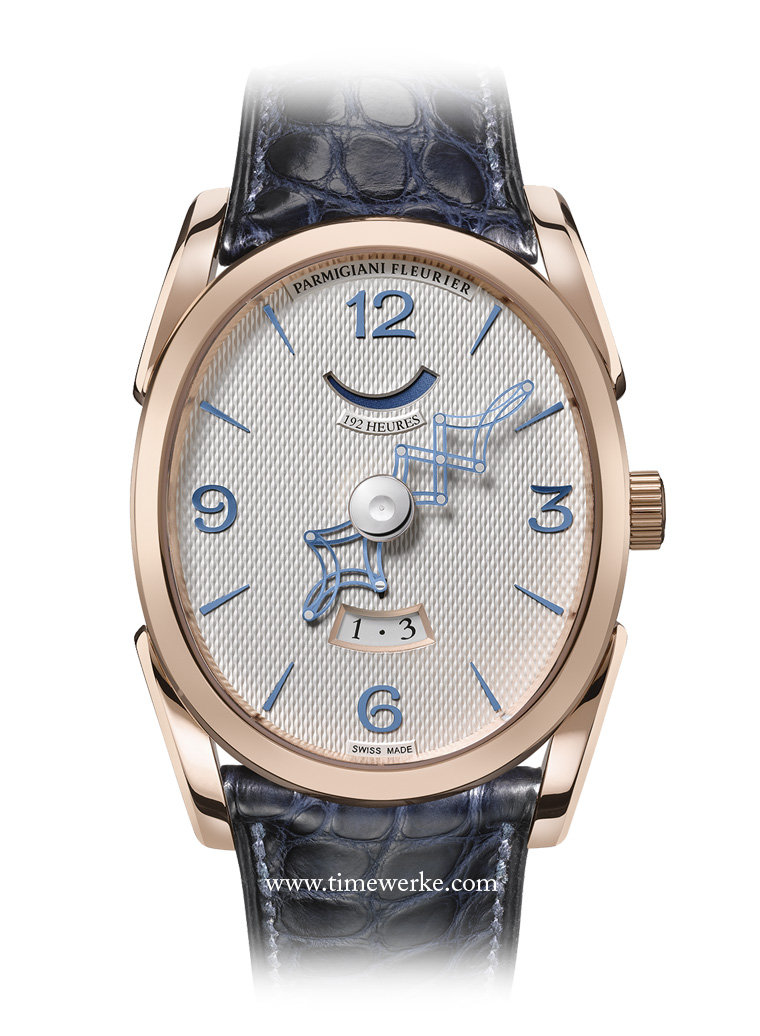 Parmigiani Ovale Pantographe. The base calibre for this piece with telescopic hour and minute is the earliest movement made by Parmigiani, the PF110. With the retractable hand module mechanism, the manual-winding movement for the Parmigiani Ovale Pantographe is termed the PF111. Photo: © Parmigiani