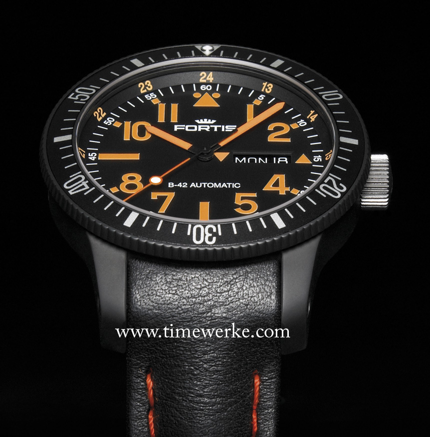 """The Fortis B-42 Black Mars 500, introduced in 2010, is the same model issued to the crew of six """"cosmonauts"""" who participated in the 520-day experiment simulating a long-haul flight to Mars. Photo: © Fortis"""