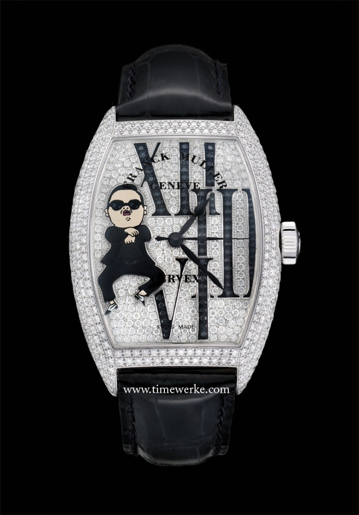 """The Franck Muller Cintrée Curvex PSY watch is a one-of-a-kind and features the caricature of the gentleman himself performing his signature invisible horse-riding """"Gangnam Style"""" dance moves on the dial complete with sunglasses and his black-and-white Oxfords while not forgetting diamonds totalling 6.97 carats on the case and dial. Photo: © Franck Muller"""