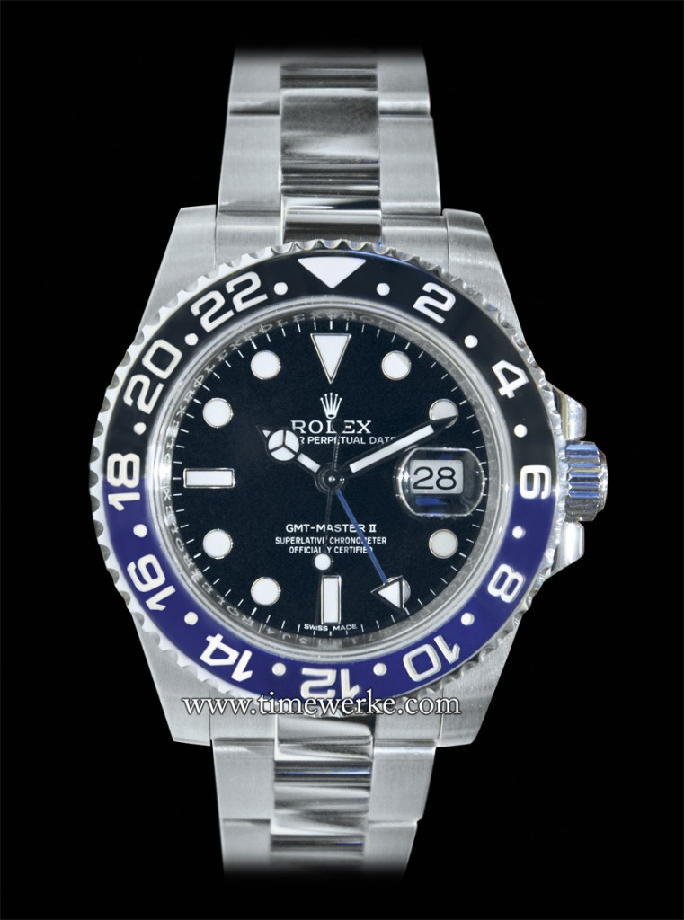 Rolex's 2013 GMT Master II (Reference: case: 116710BLNR, bracelet: 78200) in stainless steel featuring the two colour ceramic Cerachrom bezel in blue and black. Photo: © TANG Portfolio. Taken at BaselWorld 2013.