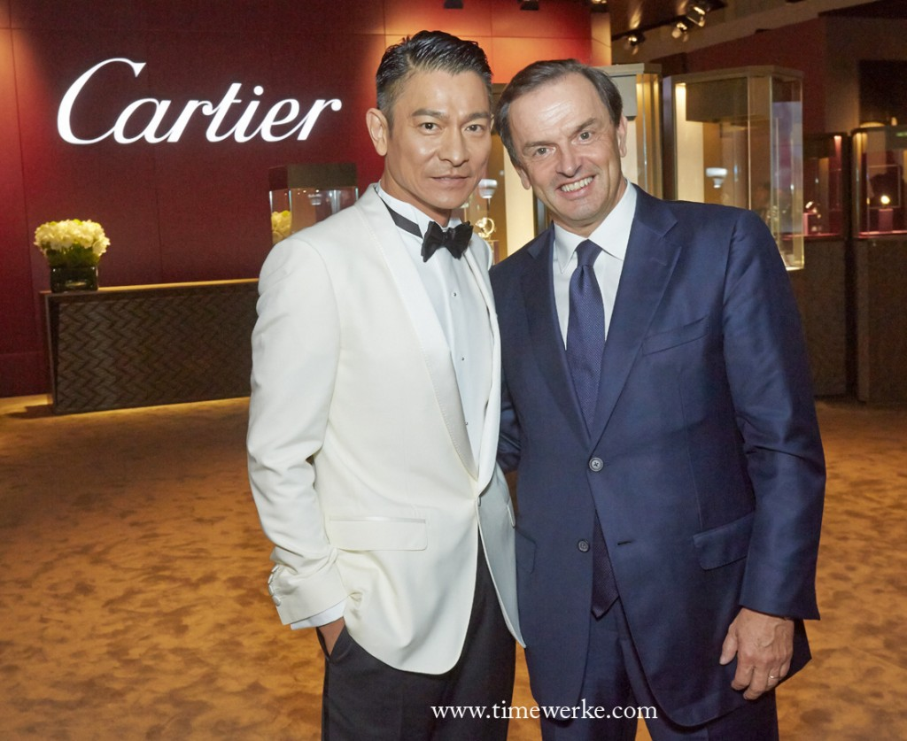 Andy Lau and Cartier President and CEO Stanislas de Quercize at the Cartier booth in Watches&Wonders. Photo: © Cartier