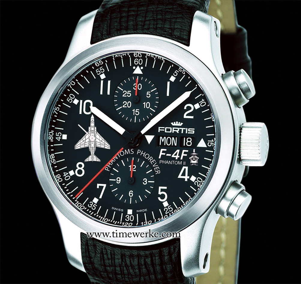 The Fortis B-42 Pilot Professional Chronograph, from what we understand, pays tribute to the F-4F Phantom II of the German Air Force. Priced at around US$3,200 / 2,400 euros / 3,000 Swiss francs / SGD4,000 / 10,000 Malaysian Ringgit. Limited to 175 pieces. Photo: © Fortis
