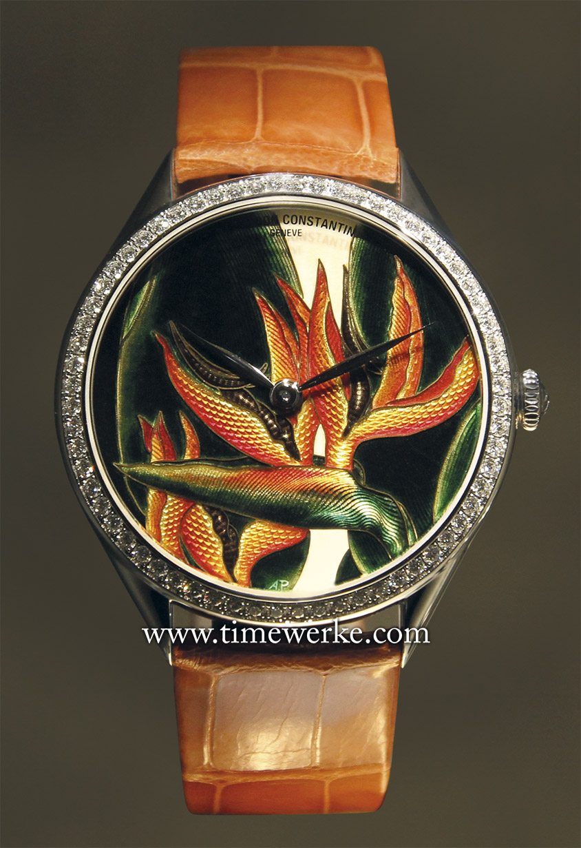 Vacheron Constantin Métiers d'Art Florilège Queen watch (strelitzia plant). Limited to 20 pieces. Photo: © TANG Portfolio Salon International de la Haute Horlogerie January 2013.