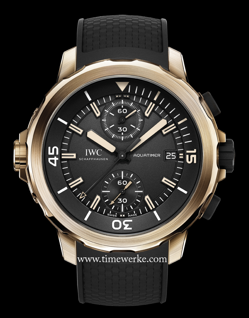 """It looks like gold but it isn't. The Aquatimer Chronograph Edition """"Expedition Charles Darwin"""" Ref. IW379503 features the first IWC watchcase made of bronze. Introduced in 2014. Photo: © IWC"""