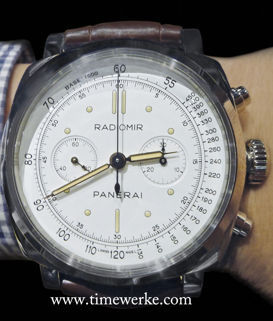 Panerai's PAM00518 Radiomir 1940 Chronograph Platino with an ivory dial and luminous hour indexes represented by dots and bars. Housed in a 45mm platinum case, it is powered by the manual-winding Calibre OP XXV which is developed on a Minerva 13-22 base movement and has a 2.8mm thick Plexiglas crystal. Limited to 50 pieces and priced at 59,900 euros or around US$81,000 / SGD104,000 / MYR272,000. Photo: © TANG Portfolio. 2014 Salon International de la Haute Horlogerie, Geneva.
