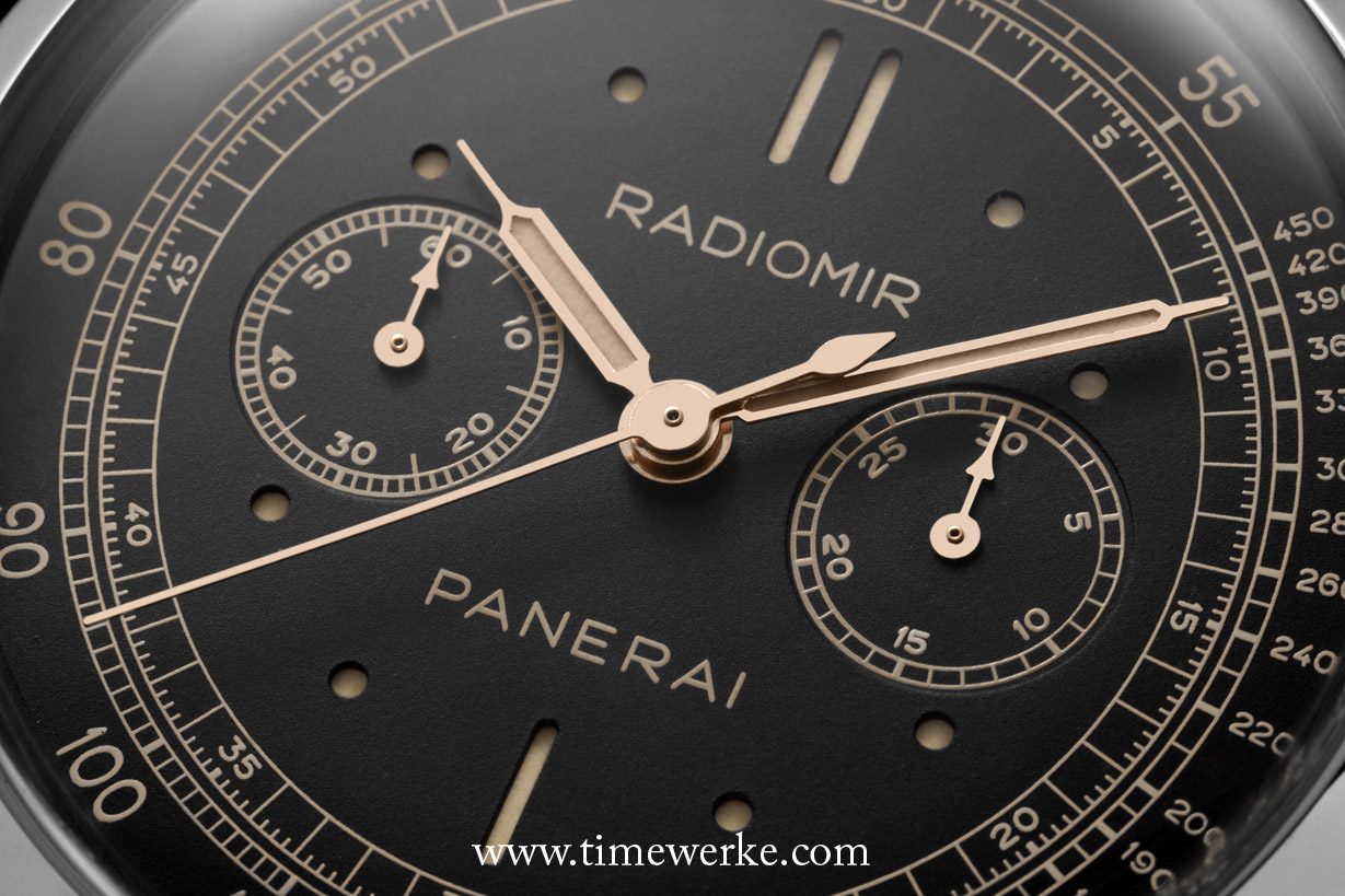 The dial design of the PAM00520 Radiomir 1940 Chronograph Oro Bianco (in white gold) is similar to that of the PAM00518 in platinum; however, the PAM00520 has a black sandwich dial where the luminescent material is seen through the aperture on the dial formed by the hour indexes. Limited to 100 pieces and priced at 46,900 euros or around US$64,000 / SGD81,000 / MYR213,000. Photo: © Panerai