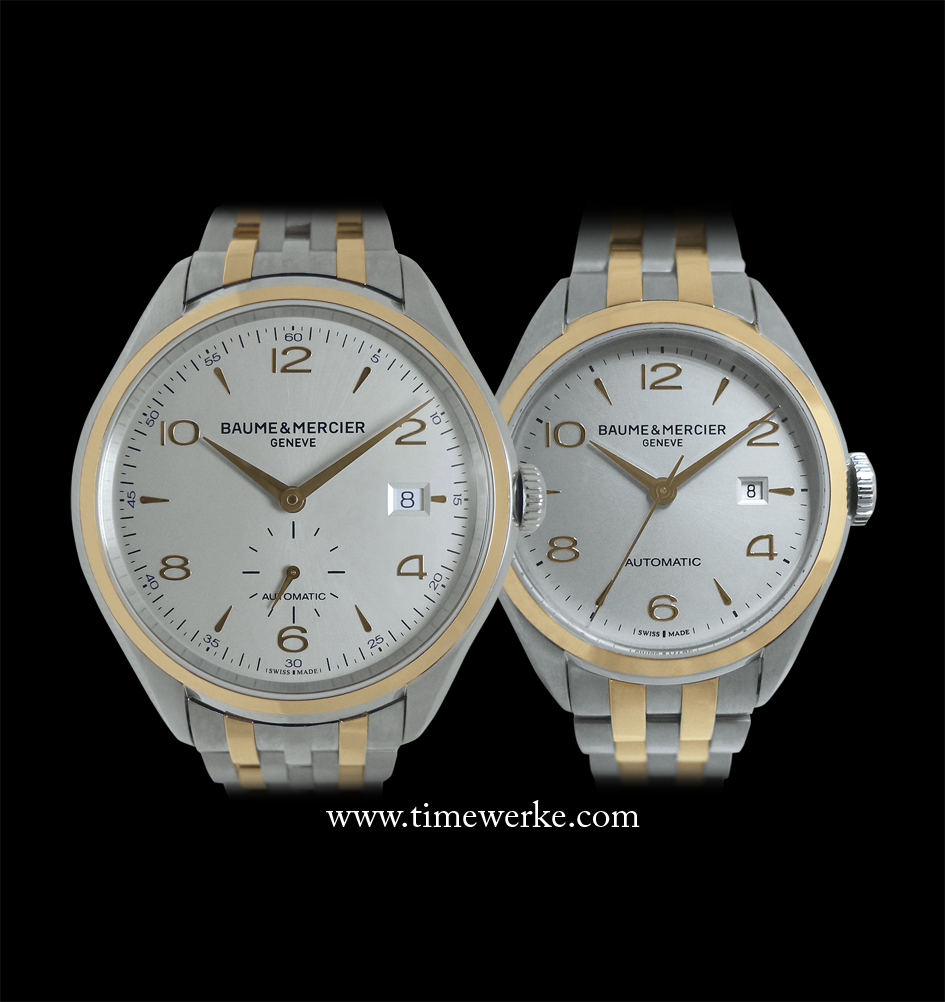 The 41mm Baume & Mercier Clifton Two-Tone 10140 (left) for gentlemen and the 30mm Clifton Two-Tone 10152 (right) for ladies. Both versions have an 18K red gold bezel and bracelet links combined with a case and bracelet made of steel. Photo: © TANG Portfolio. 2014 Salon International de la Haute Horlogerie, Geneva
