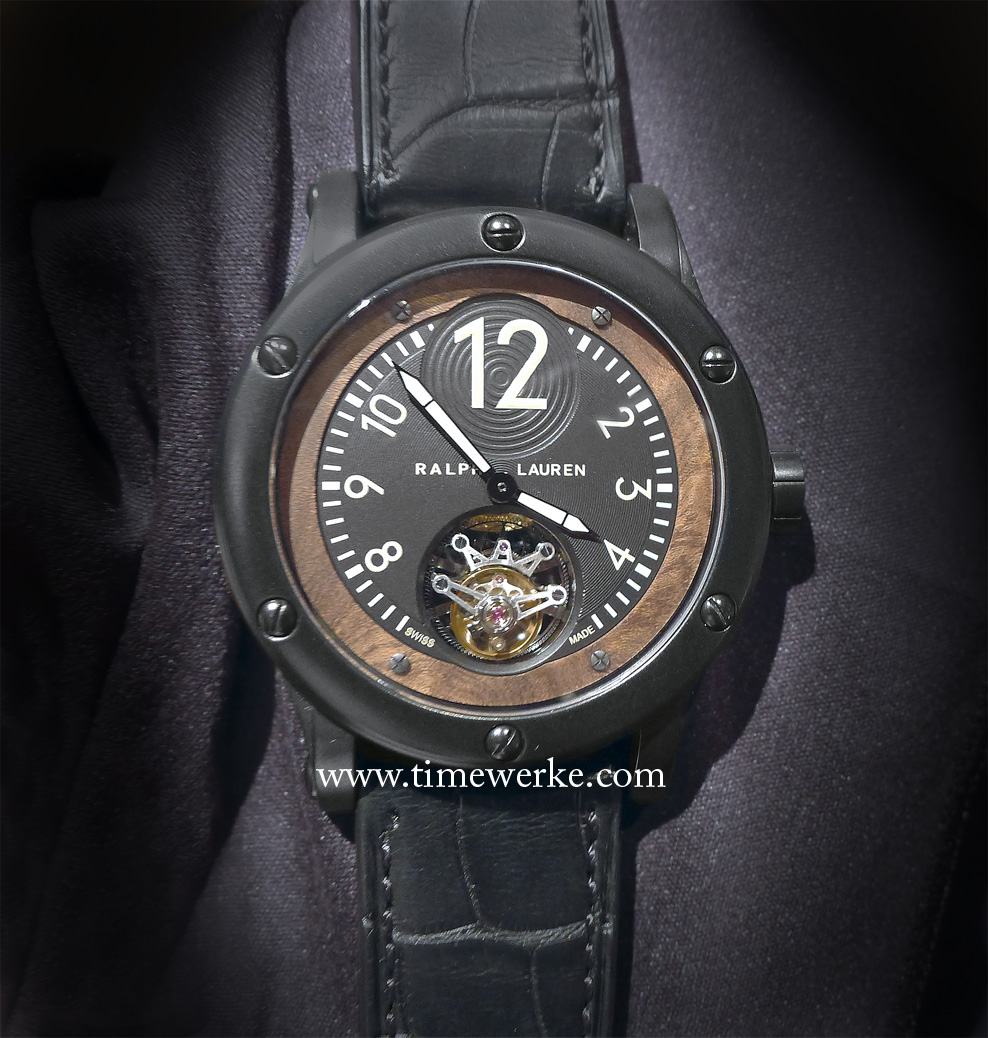 Ralph Lauren Black Safari Flying Tourbillon, from its Sporting Collection. Photo: © TANG Portfolio. 2014 Salon International de la Haute Horologerie, Geneva.