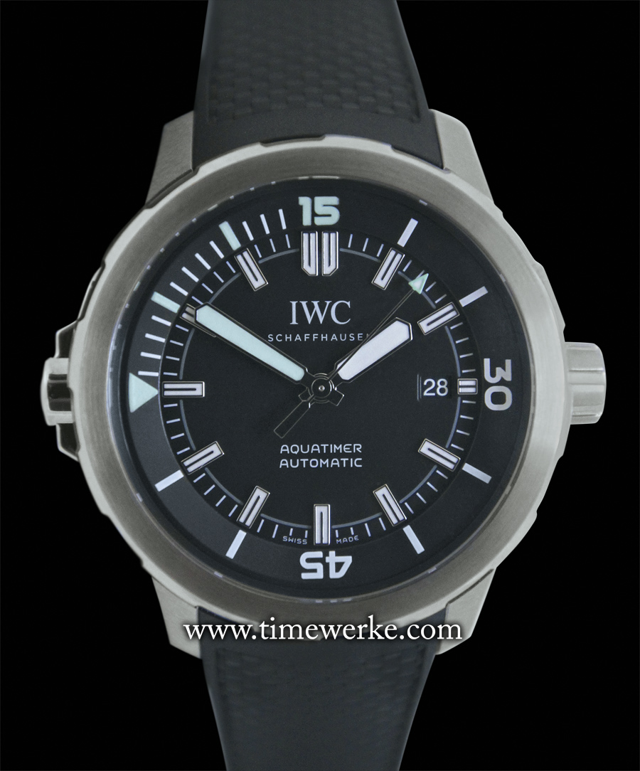 The IWC Aquatimer Automatic 2000 Ref. IW358002. Powered by IWC's in-house Calibre 80110 automatic movement. Water-resistant to 200 bar or 2,000 metres (6,561 feet). Retailed at SGD Retailed at SGD13,900 (Singapore dollars) / RM32,000 (Malaysian Ringgit). Photo: © TANG Portfolio. 2014 Salon International de la Haute Horlogerie