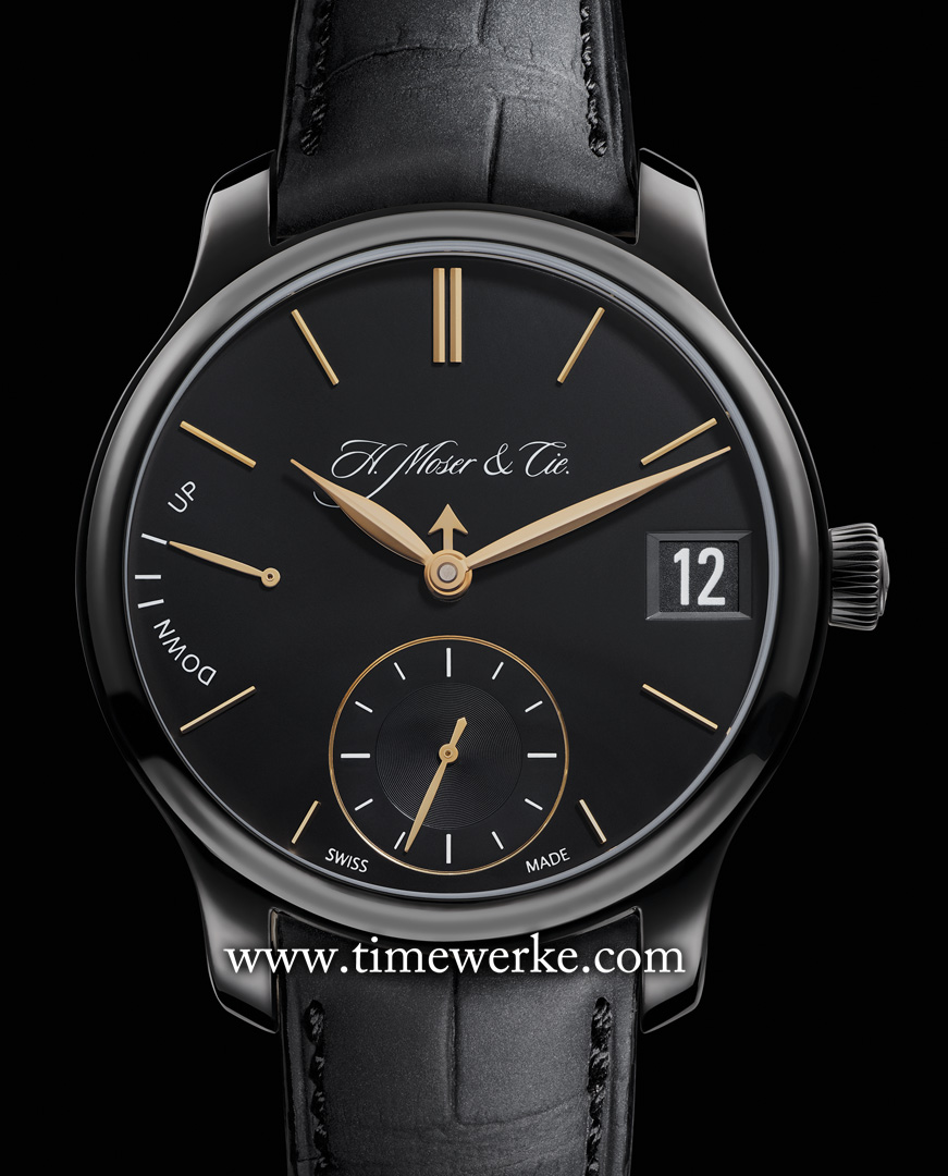 H. Moser & Cie Perpetual Calendar Black Edition (2014). The 40.8mm diameter case is in titanium and is black DLC-treated (Diamond-Like Carbon). It has the power reserve of seven days and its pallet fork and escapement wheel are made from gold. Photo: © H. Moser & Cie