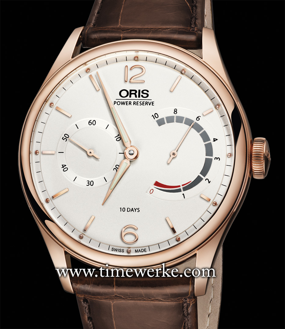 Oris celebrates the 110th anniversary of its founding in 2014. Its commemorative 110th anniversary timepiece is the Oris 110 Years Limited Edition featuring an in-house developed manual-winding movement with 10 days of power reserve and what the brand highlights as a patented non-linear power reserve display. Two versions have been created: one in steel and the other in 18K rose gold. The Oris 110 Years Limited Edition in rose gold, limited to 110 pieces, is priced at CHF14,800 (Swiss francs) / US$16,900 / 12,200 euros / SGD21,400 (Singapore dollars). Photo: © Oris