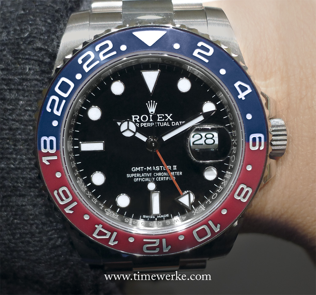 Showcased at the 2014 BaselWorld watch fair: the 40mm Rolex GMT-Master II Reference 116719 BLRO – 78209, water-resistant to 100m and powered by the Calibre 3186 automatic movement. It features the half-red, half-blue Cerachrom bezel and is in 18K white gold. Priced at CHF36,500 (Swiss francs) or around US$41,100 / SGD52,000 / MYR135,000. Photo: © TANG Portfolio. 2014 BaselWorld