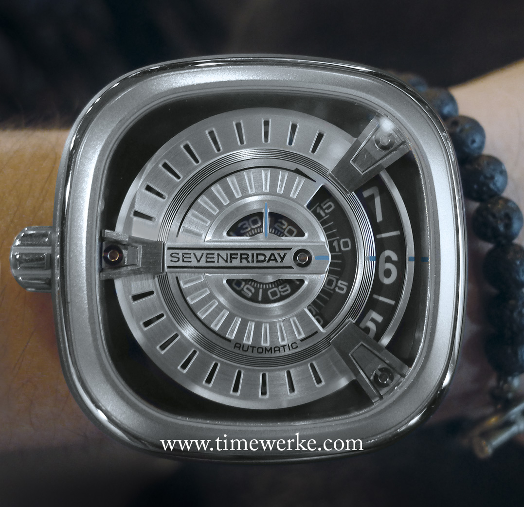 SevenFriday M1 on the wrist of Sugi Kusumadi. Legibility is high with the use of rotating discs. Note the left-hand crown. Photo: © TANG Portfolio. February 2014.