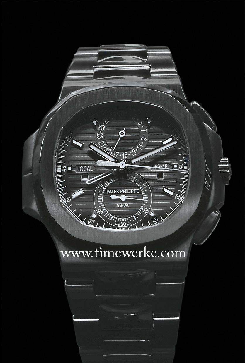The Patek Philippe Nautilus Travel Time Chronograph Ref. 5990/1A in stainless steel features the Calibre CH 28-520 C FUS movement having the column wheel chronograph with the vertical clutch, the Gyromax balance spring and Spiromax balance spring. The Ref. 5990/1A replaces the Ref. 5980/1A in steel. The Ref. 5990/1A is priced at around CHF47,000 / US$53,000 / SGD66,000 (Singapore dollars). Photo: © TANG Portfolio. 2014 BaselWorld