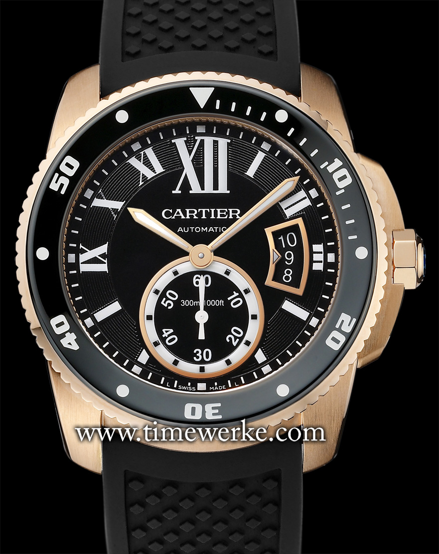 The 42mm Calibre de Cartier Diver in pink gold. Powered by the Calibre 1904 MC automatic movement, the Calibre de Cartier satisfies the ISO 6425 standards for a diver's watch. It features a unidirectional rotating bezel and is water-resistant to 300 metres. Priced at SGD37,200 including tax (around US$29,700 / MYR96,000 (Malaysian Ringgit)). Photo: © Cartier