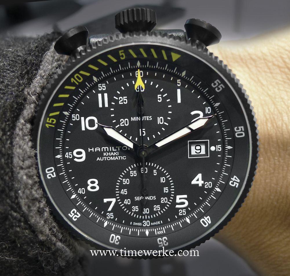 Hamilton Khaki Takeoff Auto Chrono Limited Edition. Introduced at BaselWorld 2014, it has a detachable movement module which means it can be fitted into a wristwatch housing or stored nicely and separately into a storage box that looks like a cockpit dashboard. Priced at around US$3,295 / 2,500 euros / CHF2,995 / around SGD4,300 (Singapore dollars) / MYR11,000 (Malaysian Ringgit). Photo: © TANG Portfolio. BaselWorld 2014