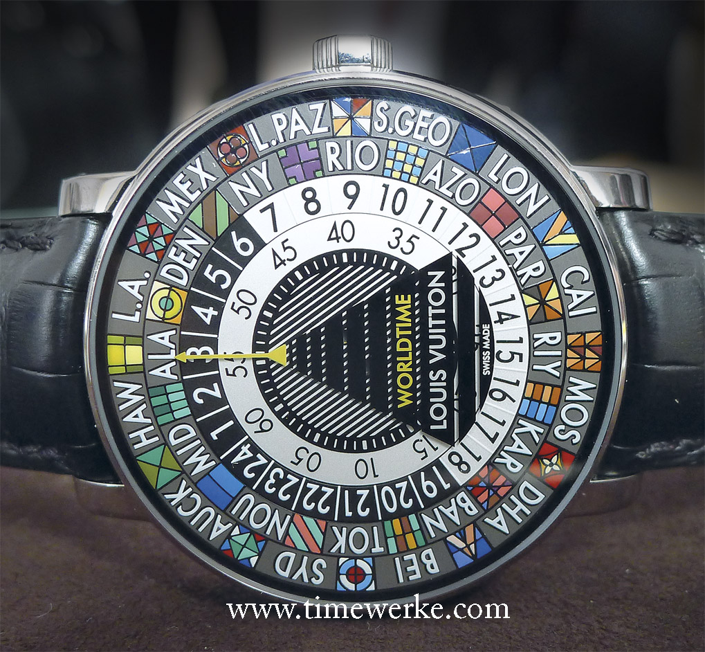 Louis Vuitton's colourful 41mm diameter Escale Worldtime in white gold adds colour to the world of horology, literally. Guess how many colours have been applied? Priced at 50,000 euros / around US$68,000 / CHF61,000 / SGD86,000 (Singapore dollars) / MYR220,000 (Malaysian Ringgit). Photo: © TANG Portfolio. Basel 2014.