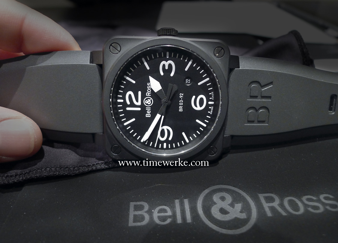 Bell & Ross BR 03-92 Ceramic in matte black housed in a 42mm ceramic case and water-resistant to 100 metres. Photo: © TANG Portfolio. 2014 BaselWorld