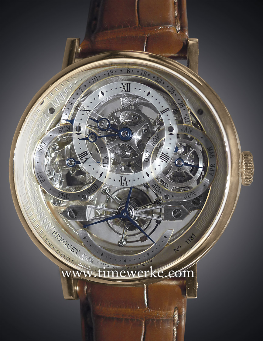 Breguet Classique Tourbillon Quantième Perpétuel Skeleton reference 3795 in pink gold (3797BR/1E/9WU). Powered by the Calibre 588QP2 manual-winding movement with 50 hours of power reserve. Indicative pricing: SGD345,700 (Singapore dollars) / MYR773,500 (Malaysian Ringgit). The information provided on the dial of this perpetual calendar watch tells us that it is a non leap-year (year 2) and the time is 9.44 on 1 April which is a Tuesday. Photo: © TANG Portfolio. Elfa / Timmy. BaselWorld 2014