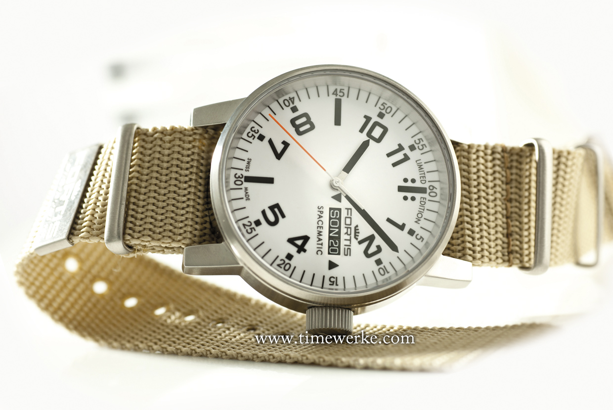 Fortis Spacematic with a white dial and textile strap. Photo: © Fortis