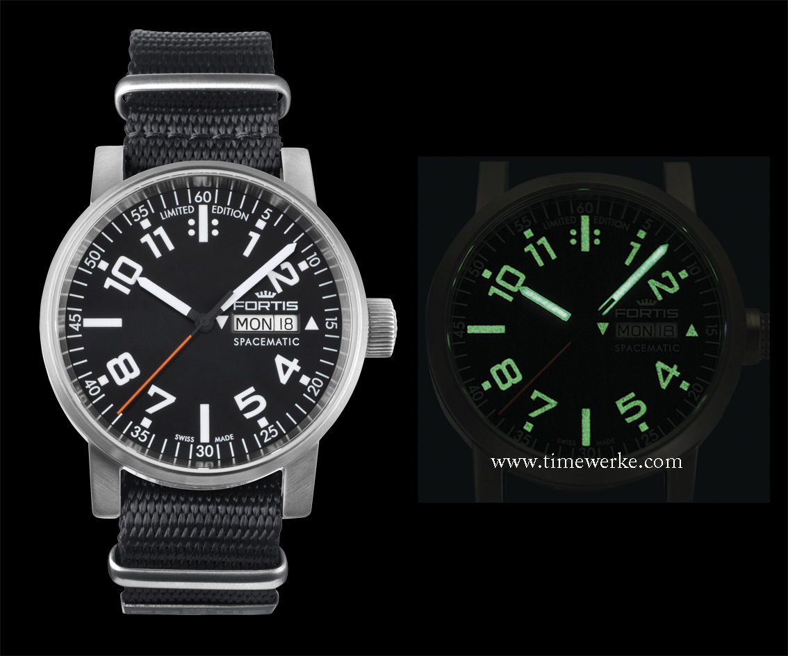 Fortis Spacematic with a black dial (Reference: 623.10.41). It features the day and date displays and comes in a 40mm diameter brushed steel case. It is water-resistant to 100m (10 bar). This version replaces reference 623.22.42. Priced at SGD1,650 / MYR4,040 or around US$1,300 / 990 euros / CHF1,200. Photo: © Fortis