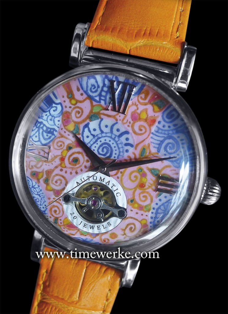 "The Arbutus ""Chek Jawa Batik"" is part of the brand's ""Singapore Heritage"" Commemorative watches featuring dials hand-painted by Elmo Chung of Hong Kong. Priced at SGD1,800 (Singapore dollars), this ""Chek Jawa"" hand-painted dial is inspired by batik prints and Chek Jawa. Chek Jawa is a rich ecosystem located on Pulau Ubin, one of Singapore's islands. The original Arbutus dial had a mother-of-pearl finishing. Photo: © TANG Portfolio. 2014"