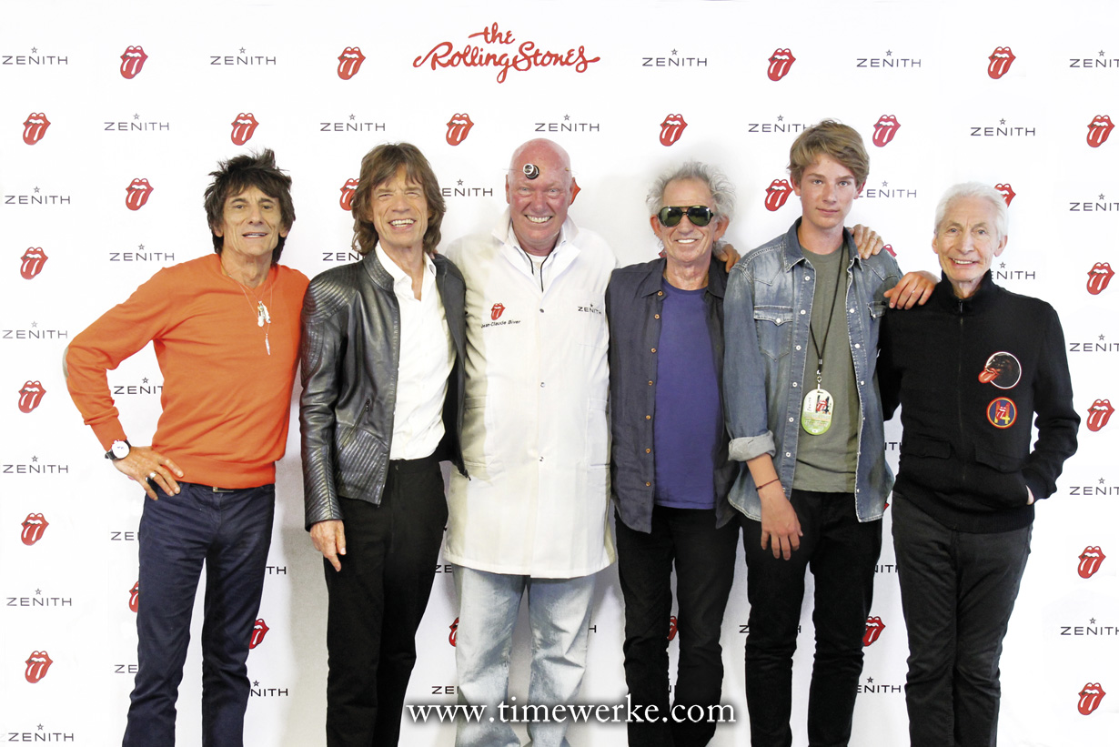 No sunglasses needed for Jean-Claude Biver (Director, LVMH Group Watch Division) with his son (in denim jacket) with band members of the Rolling Stones, just his watchmaker's loupe. Photo: © Zenith