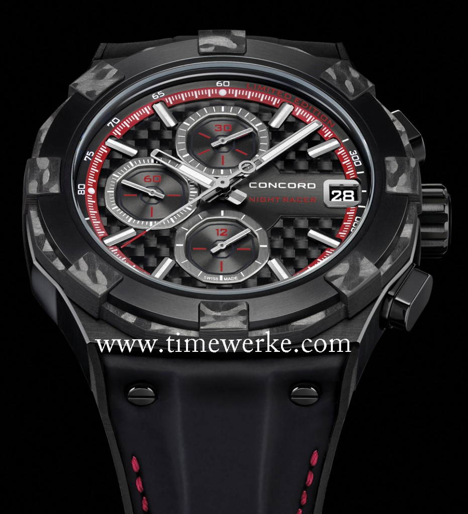 """The Concord C1 NightRacer has been produced to """"commemorate the seventh edition"""" of the Grand Prix in Singapore that will be in September 2014, according to the brand. Limited to 25 pieces, it will be exclusively offered by Cortina Watch, the brand's retail partner in this part of the world. Photo © Concord / courtesy of Pacific Time"""