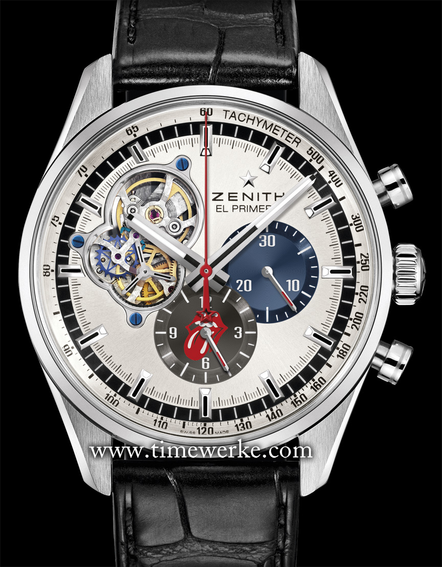 """Zenith El Primero Chronomaster 1969 – The Rolling Stones Edition. Introduced in 2014 and limited to 250 pieces. It features the El Primero 4061 automatic movement, the 30-minute counter in the original 1969 midnight blue, the 12-hour counter in the original 1969 slate grey and has the iconic """"tongue and lip"""" logo of the Rolling Stones on the 12-hour counter. The display case back is engraved with the Rolling Stones' red tongue and lip logo inscribed with """"The Rolling Stones Edition"""". Photo: © Zenith"""