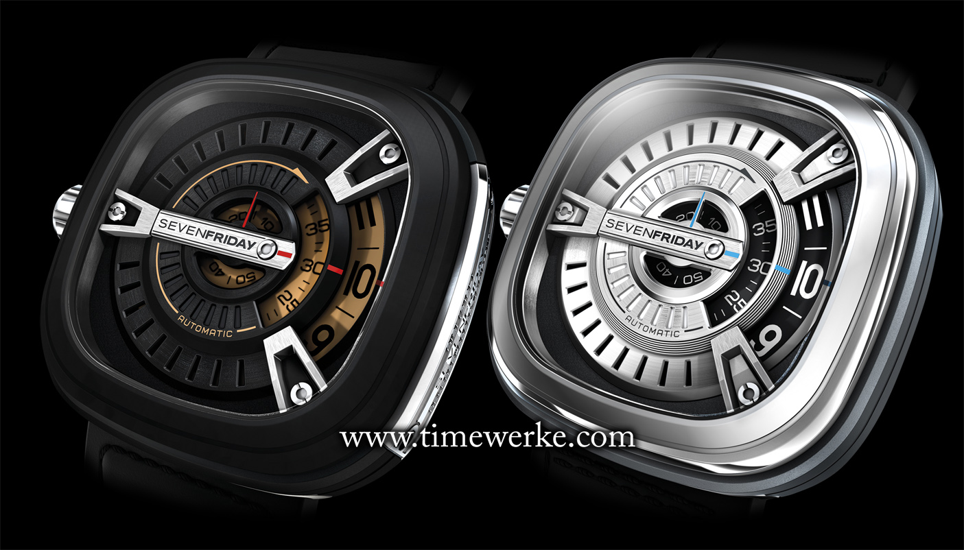 Apart from pricing (SGD2,200 for the M2 (left) as compared with SGD1,988 for the M1 (right)), the other main difference is that the case of the M2 is black PVD-treated. The SevenFriday M2 also features an additional side plate with the SevenFriday branding. Photo: © TANG Portfolio