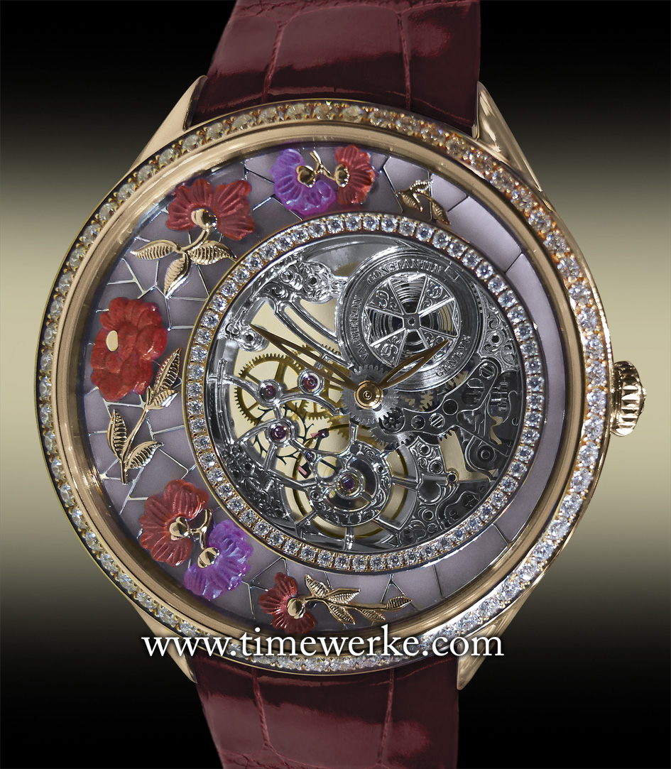 """Vacheron Constantin Métiers d'Art Fabuleux Ornements """"Chinese embroidery"""". Reference 333580/000R-9904. Introduced in 2014, it features the hand-engraved stone cloisonné (pink opale), glyptic of ruby, garnet and cuprite of approx. 1.4 carats), diamond-ring set with 60 round-cut diamonds of approx. 0.2 carats. The bezel set with 64 diamonds of approx. 0.89 carats. Priced at SGD218,100 / MYR520,400. Photo: © TANG Portfolio. Special thanks to Christine Chia"""