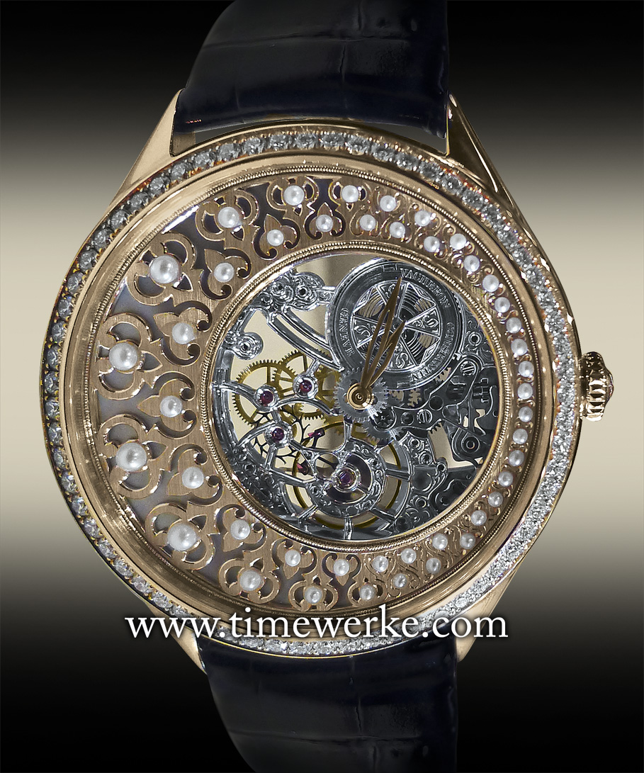 """Vacheron Constantin Métiers d'Art Fabuleux Ornements """"Ottoman Architecture"""". Reference 33580/000R-9906. Introduced in 2014, it is powered by the Calibre 1003SQ manual-winding movement and features a white mother-of-pearl dial under an openworked 18K gold plate that is hand-chamfered and adorned with applied half pearls and a knurled ring. Priced at SGD218,100 / MYR520,400. Photo: © TANG Portfolio. Special thanks to Christine Chia"""