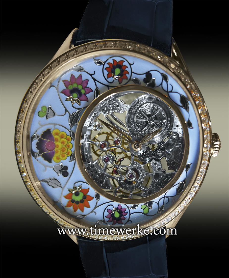 """Vacheron Constantin Métiers d'Art Fabuleux Ornements """"Indian Manuscript"""". Reference 33580/000R-9959. Introduced in 2014, it features the Grand Feu champlevé enamelling and hand-engraved dial with a polished ring. Priced at SGD218,100 / MYR520,400. Photo: © TANG Portfolio. Special thanks to Christine Chia"""
