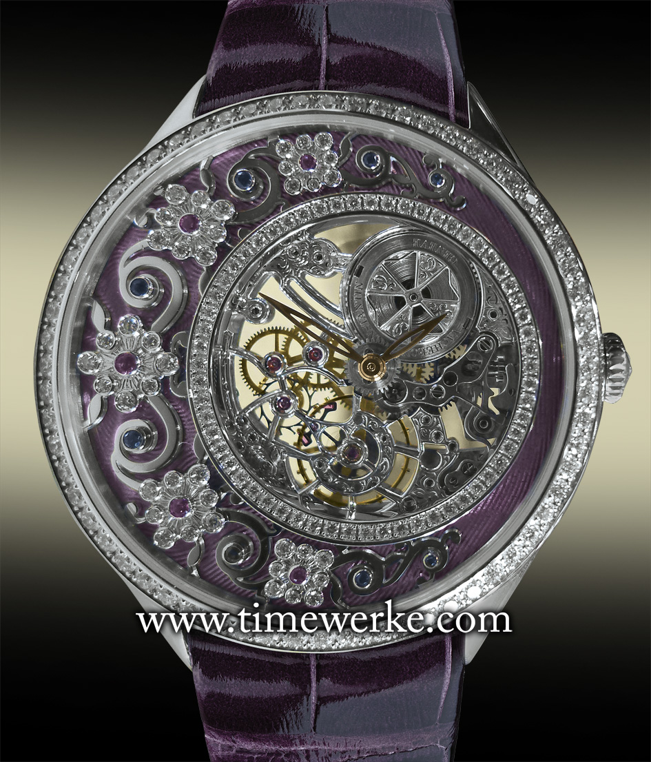 """Vacheron Constantin Métiers d'Art Fabuleux Ornements """"French Lace"""". Reference 33580/000G-9903. Introduced in 2014 and featuring hand-guilloché and translucent Grand Feu enamelling, an openworked 18K gold plate and set with blue and pink sapphires, and diamonds (13 sapphires of approx. 0.06 carats and 40 round-cut diamonds of approx. 0.13 carats) including a diamond ring set with 60 round-cut diamonds of approx. 0.2 carats. The bezel set with 64 diamonds of approx. 0.89 carats. Priced at SGD218,100 / MYR520,400. Photo: © TANG Portfolio. Special thanks to Christine Chia"""