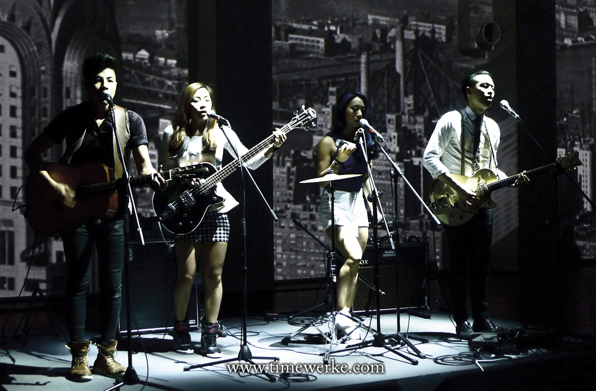 October 2014: Indie band The Sam Willows playing at Timex Group's anniversary party in Singapore. From left-to-right: Benjamin Kheng (rhythm guitar and vocals), his sister Narelle Kheng (bass guitar and vocals), Sandra Riley Tang (percussionist and vocals) and Jonathan Chua (lead guitar and vocals). Photo: © TANG Portfolio. Elfa / Timmy