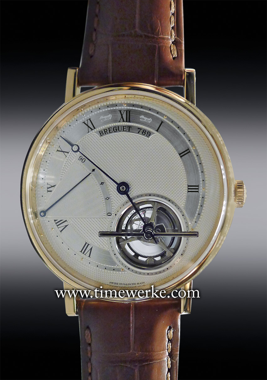 The 42mm Breguet Classique Tourbillon Extra-Thin Automatic 5377. Reference: 5377BR/12/9WU. Introduced in 2013, it features the Breguet Calibre 581DR extra-thin automatic movement (16-lignes) which is 3mm thick. It beats at the frequency of 28,800 vibrations per hour (4Hz) and has 80 hours of power reserve. Photo: © TANG Portfolio. Elfa / Timmy