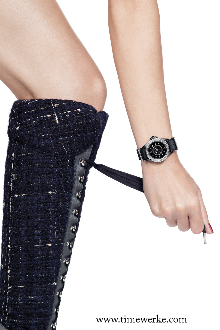 Chanel has transformed the G10 or NATO strap and brought it upmarket with its super-luxury alligator skin version on its J12.G10 watches. Photo: © Chanel