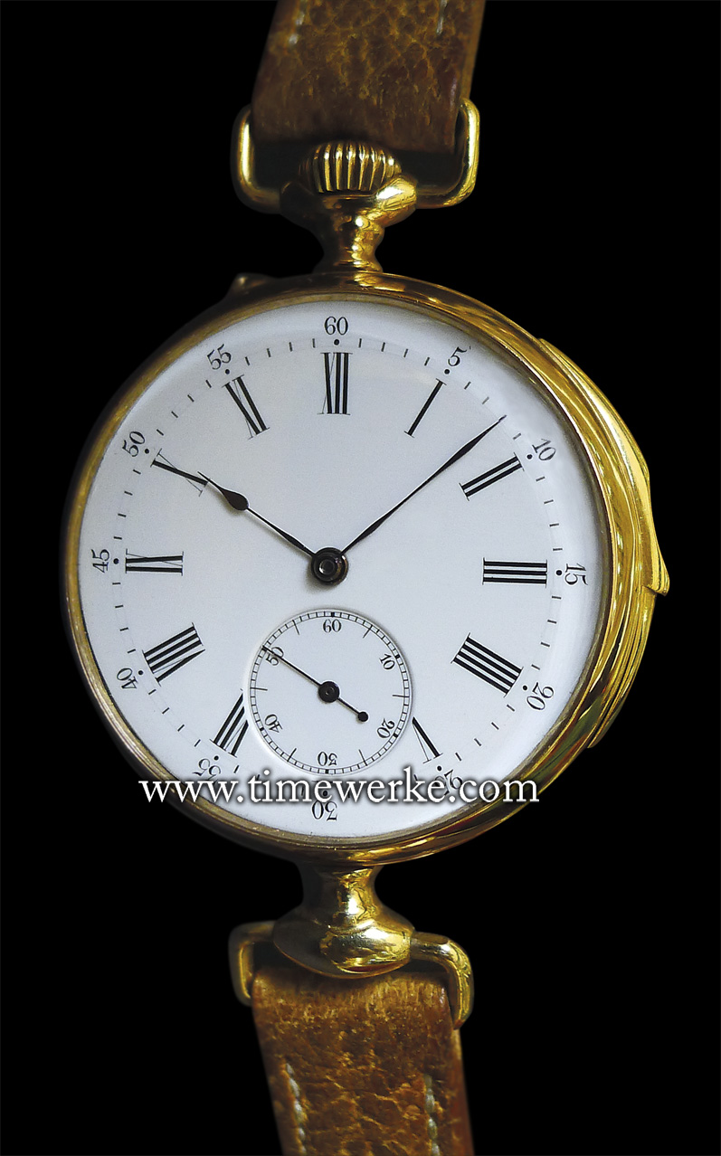 There is no branding on this wristwatch with the enamel dial but this is a historically significant piece. This is the 1892 Louis Brandt minute repeater in 18K red gold – the world's first wristwatch with the minute repeater. The movement, with the serial number 2416, is a Lépine lever escapement calibre that was manufactured by Audemars Piguet. Special thanks to David Ponzo and Petros Protopapas. Photo: © TANG Portfolio. Elfa / Timmy 2014.