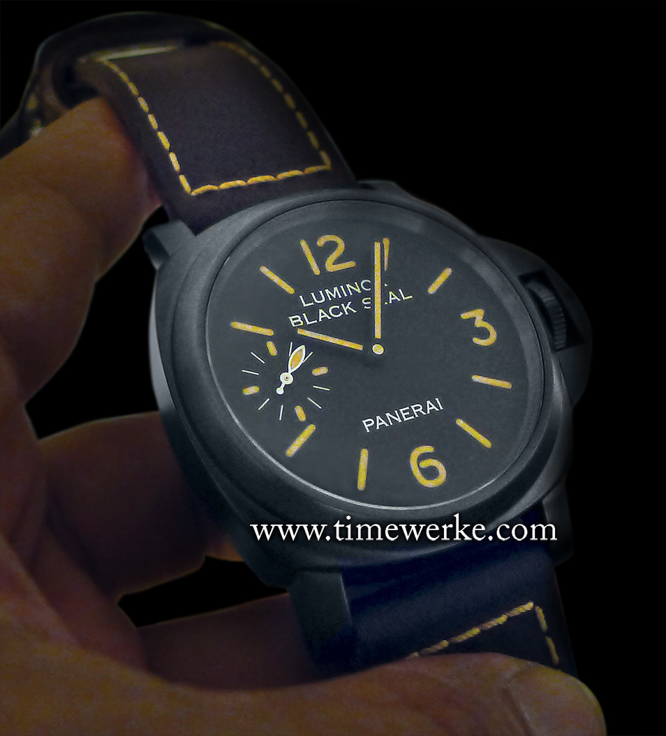 Panerai Luminor Black Seal 8 Days Acciaio DLC 44mm. Introduced in 2014, it is equipped with the Panerai Calibre P.5000 manual-winding movement with 8 days of power reserve. The steel case is coated with DLC (Diamond-Like Carbon) and the watch is water-resistant to 30 bar (approx 300m). This Luminor Black Seal 8 Days Acciaio DLC is sold together with the Luminor Daylight 8 Days Acciaio as a set – The Special Edition Luminor Black Seal and Luminor Daylight Set – PAM 785 that is limited to 500 sets. Recommended retail price: SGD26,450 / MYR65,100 / AUD23,000. Prices are correct as at the time of writing. Photo: © TANG Portfolio. Elfa / Timmy. Watches&Wonders 2014