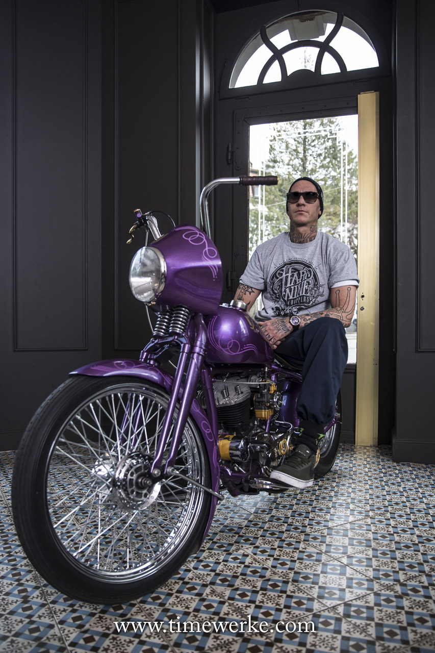 Hardnine Choppers founder and owner Danny Schneider on the customised 1943 WLC Harley-Davidson. Photo: © Stéphane Schmutz / STEMUTZ.COM